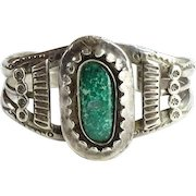 Old Rustic Elaborate Southwestern Native American Green Turquoise and Sterling Cuff Bracelet