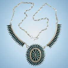 Vintage Zuni Indian Native American Needlepoint Turquoise Cluster Pendant Necklace Hallmarked Sterling