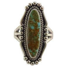 Vintage Bell Trading Post Turquoise Ring Size 8 1/4 Fred Harvey Sterling Signed Gorgeous Stone