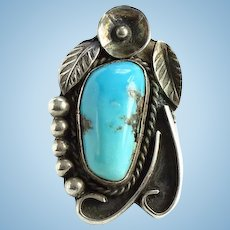 Vintage Navajo Turquoise Ring Size 9 Gorgeous Stone Strong Color Sterling Silver