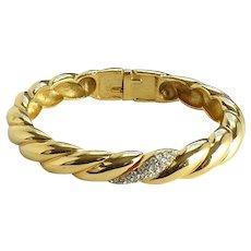 Vintage Crown Trifari Designer Runway Rope Twist Hinged Bangle Bracelet Goldtone with Crystal Accents