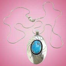 Vintage Southwestern Morenci Turquoise Shadowbox Pendant Necklace Hallmarked RG