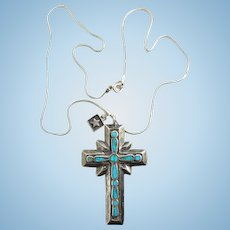Vintage Southwestern Turquoise Inlay Religious Cross Sand Cast Pendant Necklace Sterling Silver