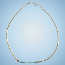 Vintage Southwestern Sterling Silver Graduated Heishi Bead Necklace with Turquoise and Coral