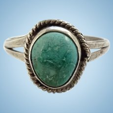 Vintage Navajo Seafoam Green Turquoise Ring Size 10 1/2 Sterling Silver Native American