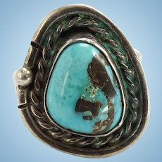 Vintage Navajo Turquoise Ring Size 6 1/4 Sterling Silver Native American Jewelry