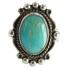 Vintage Bell Trading Post Turquoise and Sterling Ring Size 6 3/4 Fred Harvey Era Navajo