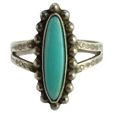 Vintage Maisel's Fred Harvey Era Turquoise Ring Size 7 1/2 Stamp Decorated Shank Signed Sterling
