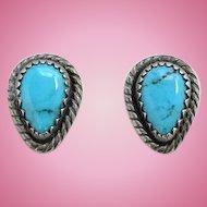 Vintage WM Wheeler Co Southwestern Turquoise Pierced Earrings Signed