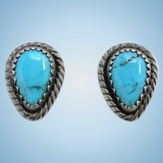 Vintage WM Wheeler Co Southwestern Turquoise Pierced Earrings Signed