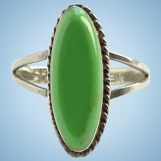 Vintage Mexico Mexican Gaspeite Gemstone Ring Size 6 1/4 925 Sterling Silver