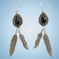Native American Vintage Black Onyx and Sterling Long Dangle Pierced Earrings Marked RB