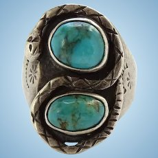 intage Native American Man's Turquoise and Sterling Silver Rattlesnake Snake Ring Size 10 1/2