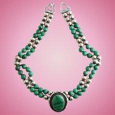Vintage Jon McCray Malachite Pendant Necklace Indian Handmade Sterling Silver IHMSS
