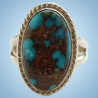 Vintage Southwestern Native American Turquoise Ring Size 9 Signed W Sterling Gorgeous Stone