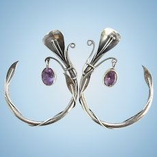 Fabulous Art Nouveau Style Hoop Pierced Earrings 925 Sterling Silver Amethyst Dangle