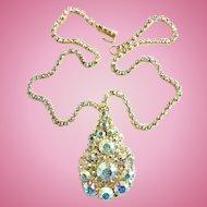 Juliana Tear Drop Shape Pendant Necklace Brooch Aurora Borealis Rhinestone DeLizza Elster HTF