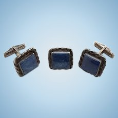 Vintage Southwestern Blue Lapis Lazuli and Sterling Silver Cuff Links and Tie Tack Men's Jewelry