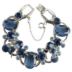 Juliana Large Oval Sapphire Blue Rhinestone 5 Link Bracelet Silvertone with Wire Over DeLizza Elster