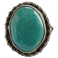 Vintage Native American Turquoise Ring Size 7 1/4 Beautiful Color Sterling Silver Handmade