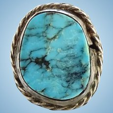 Vintage Native American Morenci Turquoise Pinky Ring Size 4 1/2 Spider Web Matrix Sterling Silver