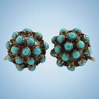 Vintage Mexico Mexican Sterling and Turquoise Cluster Dome Shape Screwback Earrings Signed MS