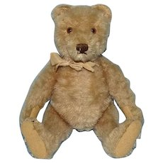 Steiff 8 Inch Jointed Beige Mohair Teddy Bear Glass Eyes Stitched Nose Felt Paws