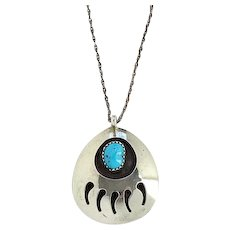 Native American Turquoise Shadowbox Bear Paw Pendant Necklace Sterling Silver