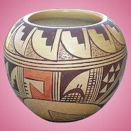 Hopi Tewa Polychrome Pottery Bowl Pot Ethel Youvella Signed Polacca AZ