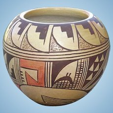 Hopi Tewa Polychrome Pottery Bowl Pot Ethel Youvella Signed Polacca AZ