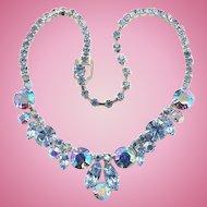 Vintage Weiss Designer Blue Aurora Borealis Rhinestone Choker Necklace 1960s Signed