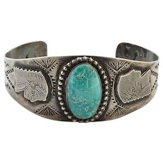 Fred Harvey Era Native American Turquoise Cuff Bracelet with Chief Snake Saguaro Cactus Sterling Silver