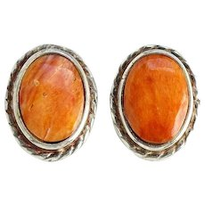 Vintage Southwestern Spiny Oyster and Sterling Pierced Earrings Hallmarked 925