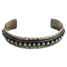 Zuni JP Jason and Pearl Ukestine Turquoise Snake Eye Sterling Cuff Bracelet
