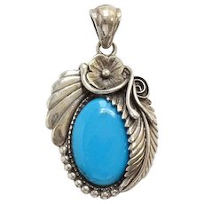 Southwestern Blue Turquoise and Sterling Necklace Pendant Hallmarked 925