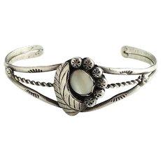 Vintage Navajo Mother of Pearl MOP Sterling Cuff Bracelet Hallmarked W Spencer