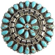 Native American Vintage Zuni Turquoise Petit Point Cluster Brooch Pin Signed MB