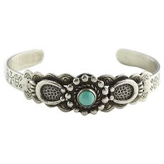 Vintage Navajo Fred Harvey Turquoise Cuff Bracelet Native American Jewelry
