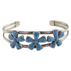 Vintage Southwestern Denim Lapis Lazuli and 925 Sterling Cuff Bracelet Flower Petal Design Hallmarked