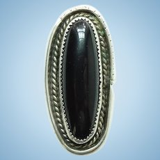 Vintage Handmade Native American Black Onyx Ring Size 8 1/2 Long Oval Sterling Silver