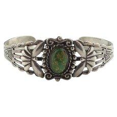 Vintage Fred Harvey Era Natural Green Turquoise Native American Cuff Bracelet Stamp Decoration Sterling Silver