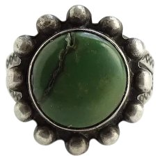Old Fred Harvey Era Natural Green Turquoise Satellite Ring Size 5 1/2 Stamp Decorated Sterling