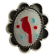 Vintage Zuni Sterling Silver Cardinal Ring Size 6 Inlaid Coral Turquoise Mother of Pearl