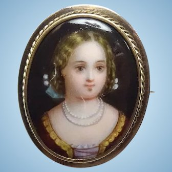 Antique 14K Gold Handpainted Portrait Brooch Pin Porcelain Young Girl with Necklace