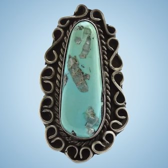 Vintage Navajo Morenci Turquoise Ring Size 5 3/4 Beautiful Stone Native American