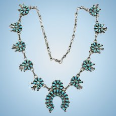 Vintage Zuni Small Petit Point Cluster Turquoise Squash Blossom Necklace Signed Ruxx Sterling Silver