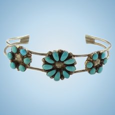 Vintage Sterling Zuni Petit Point Turquoise Cluster Cuff Bracelet Signed L L in Script