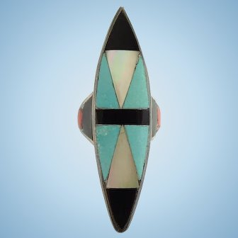 Vintage Zuni Turquoise Onyx Coral Mother of Pearl Inlay Ring Size 6 1/2 Sterling Silver