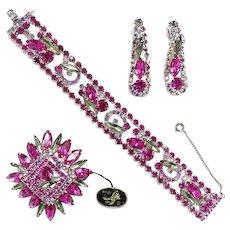 Juliana Fuchsia and Black Diamond Demi Parure Set Bracelet Earrings Brooch Rare Color with Hang Tag