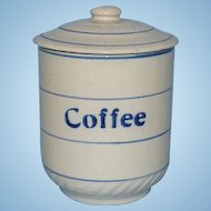 Old Blue and White Stoneware COFFEE Canister with Lid 6 Inch